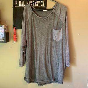 Plus Size 4X 26/28 W Gray Long Sleeve